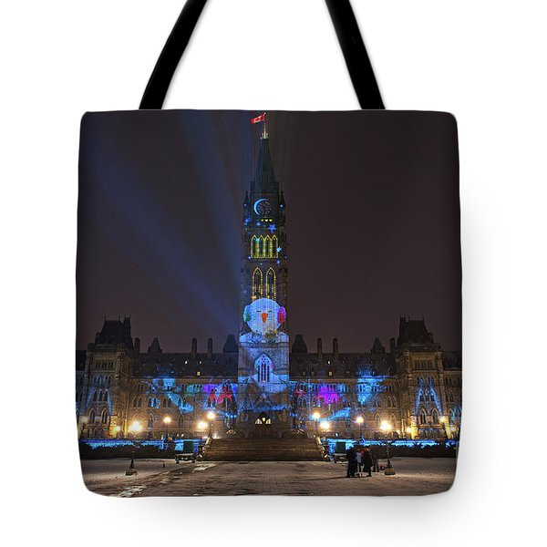 Tote Bag featuring the photograph Christmas Lights Across Canada.. by Nina Stavlund