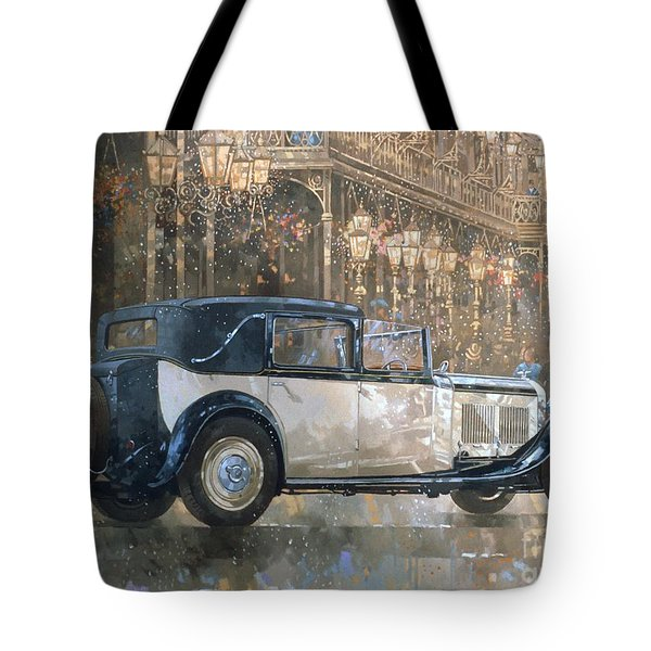 Christmas Lights And 8 Litre Bentley Tote Bag by Peter Miller