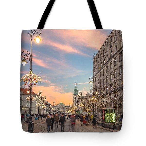 Christmas Lights In Warsaw Tote Bag by Julis Simo
