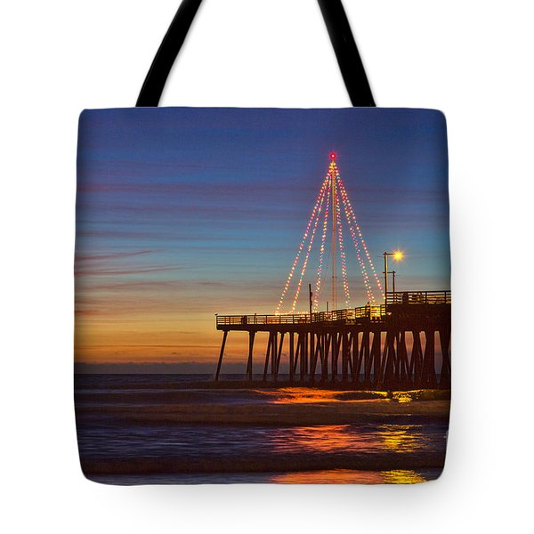 Christmas Lights On The Pismo Pier Tote Bag