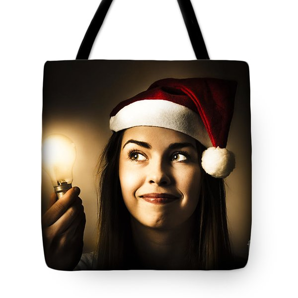 Christmas Lights Woman With Bright Idea Tote Bag