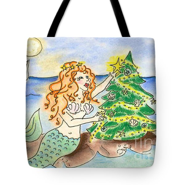 Christmas Mermaid Tote Bag by Vonda Lawson-Rosa
