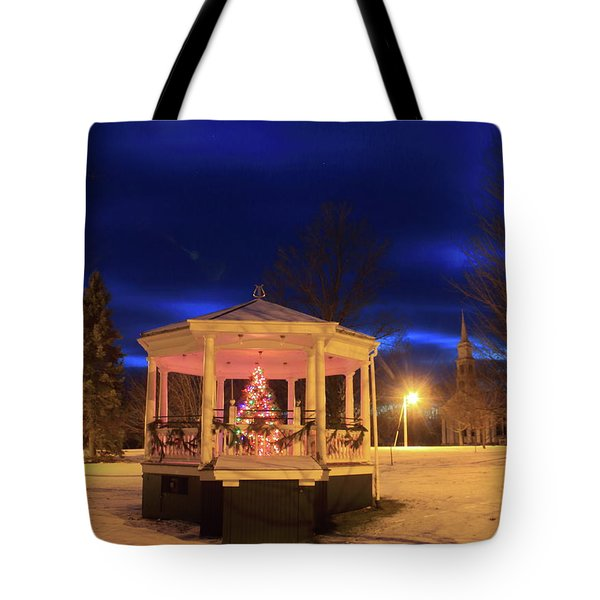 Christmas Moon Over Town Common Tote Bag by John Burk