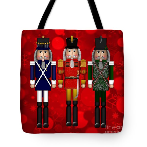 Tote Bag featuring the digital art Christmas Nutcracker Trio by Margaret Newcomb