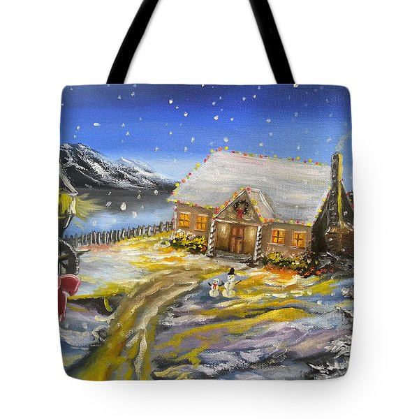 Tote Bag featuring the painting Christmas On The Bay by Kevin F Heuman