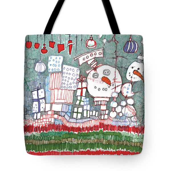 Christmas On The Edge Tote Bag by Sandra Church