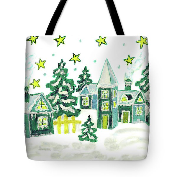 Christmas Picture In Green Tote Bag