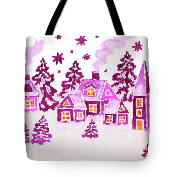 Christmas Picture In Pink Colours Tote Bag