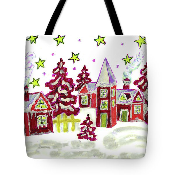 Christmas Picture In Red Tote Bag
