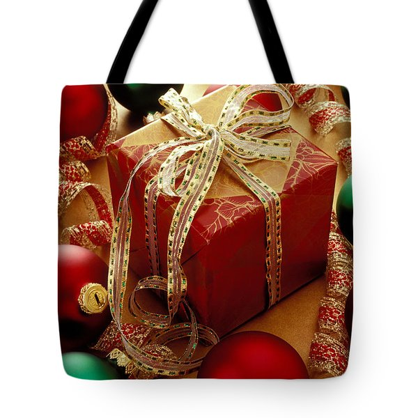 Christmas Present And Ornaments Tote Bag by Garry Gay
