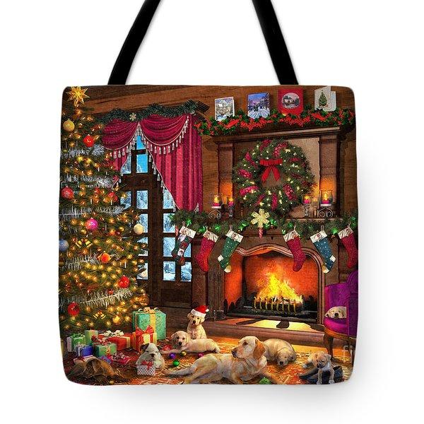 Christmas Puppies Tote Bag