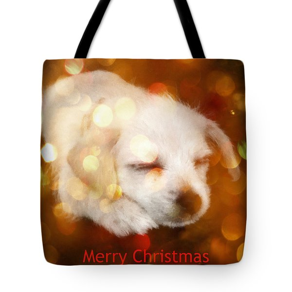 Tote Bag featuring the photograph Christmas Puppy by Amanda Eberly-Kudamik