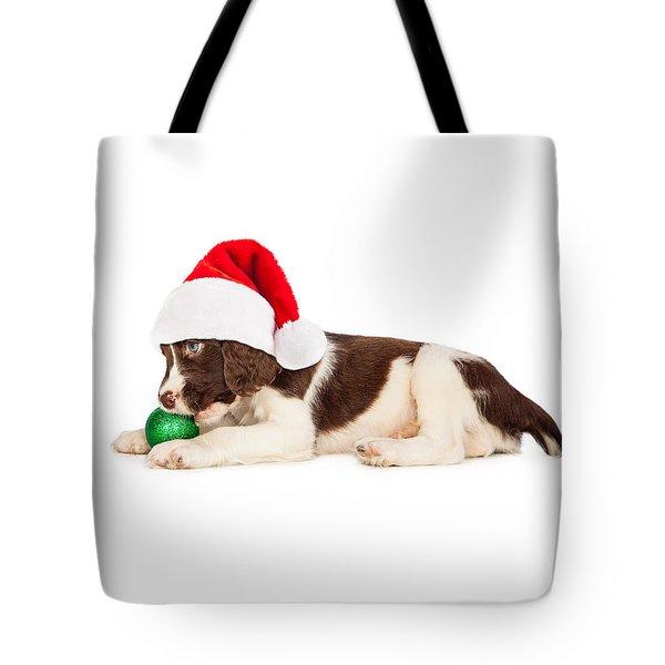Christmas Puppy Santa Hat And Bulb Tote Bag