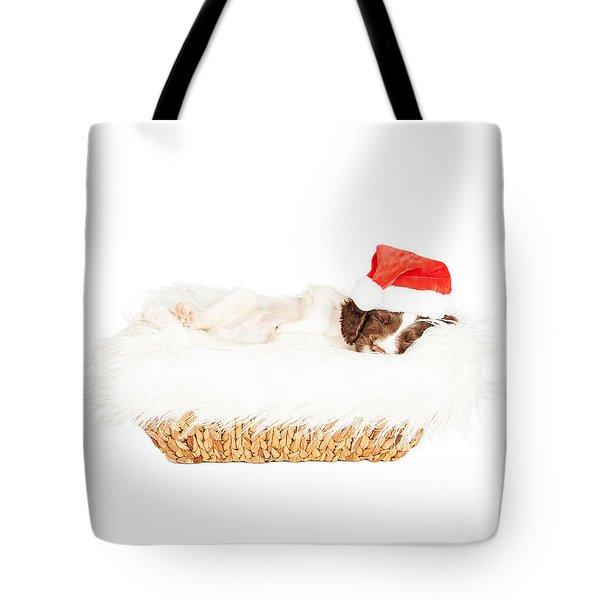 Christmas Puppy Sleeping In Basket Tote Bag