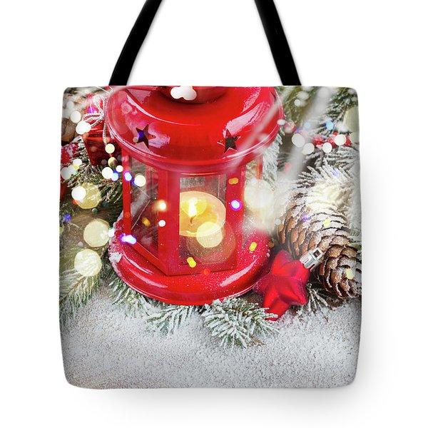 Christmas Red Lantern  Tote Bag by Anastasy Yarmolovich