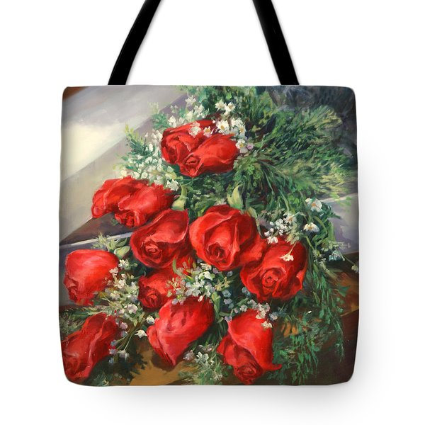 Christmas Red Roses Tote Bag