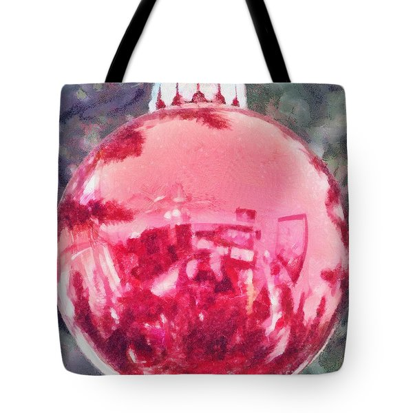 Tote Bag featuring the painting Christmas Reflected by Jeffrey Kolker