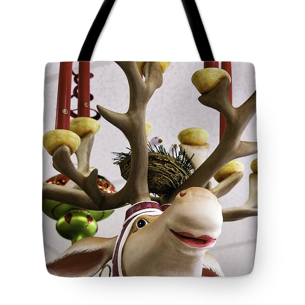 Tote Bag featuring the photograph Christmas Reindeer Games by Betty Denise