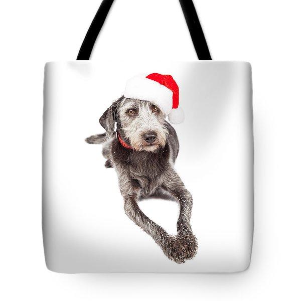 Christmas Santa Terrier Dog Laying Tote Bag