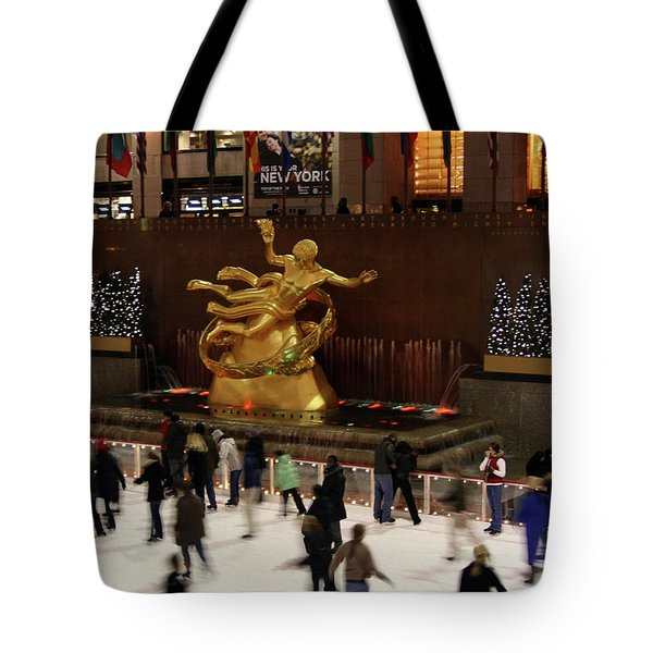 Christmas Skating Ny Style Tote Bag by Karol Livote