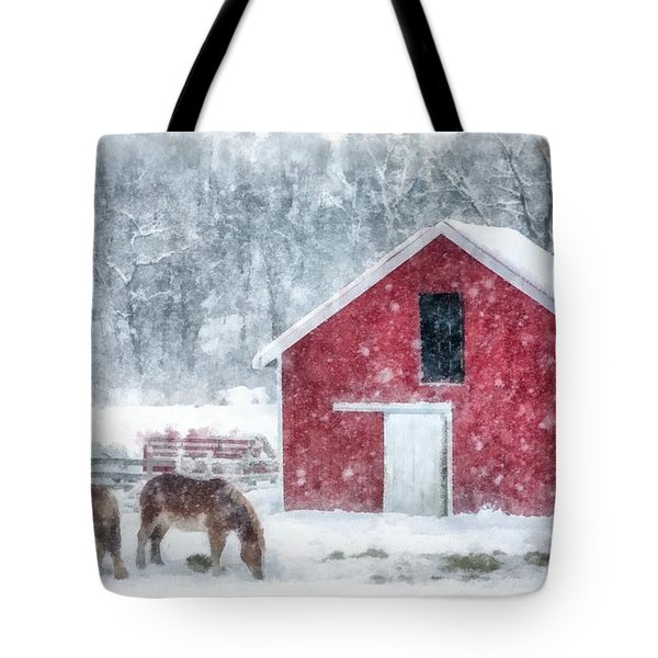 Christmas Snowstorm Vermont Watercolor Tote Bag