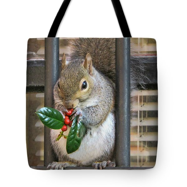 Christmas Squirrel Tote Bag by Victor Montgomery