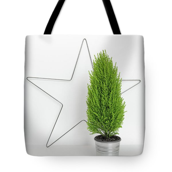 Christmas Star And Little Green Tree Tote Bag