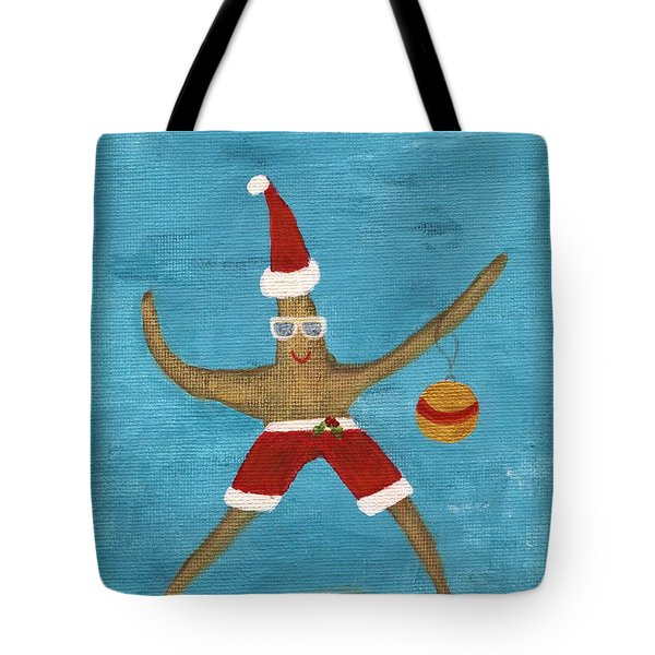 Christmas Starfish Tote Bag by Jamie Frier
