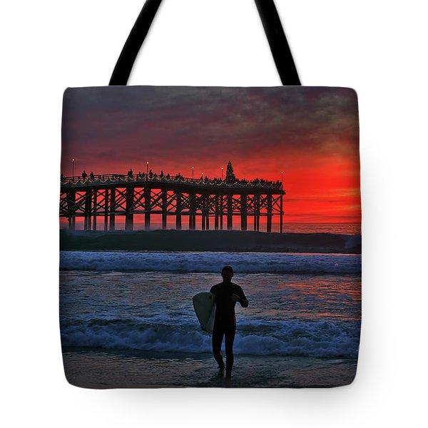 Christmas Surfer Sunset Tote Bag