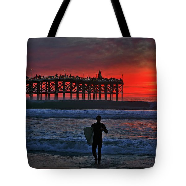 Christmas Surfer Sunset Tote Bag