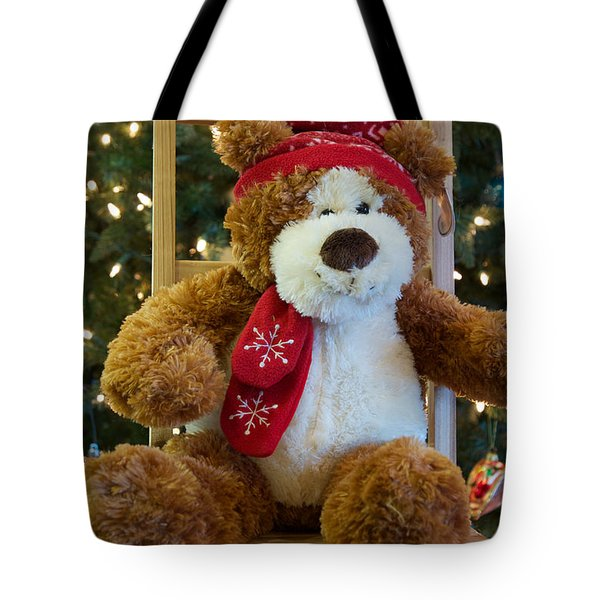 Tote Bag featuring the photograph Christmas Teddy Bear by Vinnie Oakes