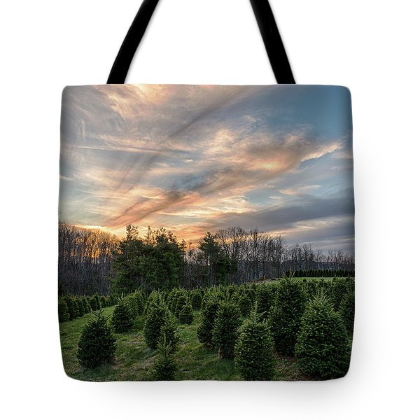 Christmas Tree Farm Sunset Tote Bag