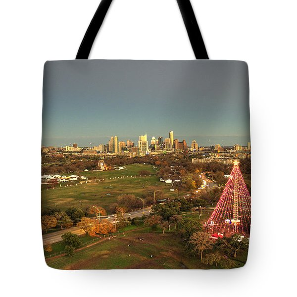 Christmas Tree In Austin Tote Bag