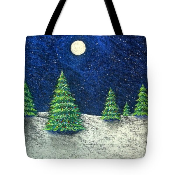 Christmas Trees In The Snow Tote Bag by Nancy Mueller