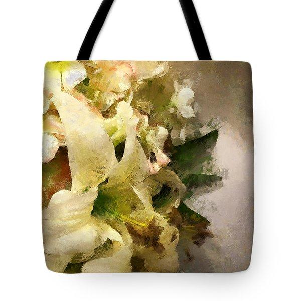 Christmas White Flowers Tote Bag
