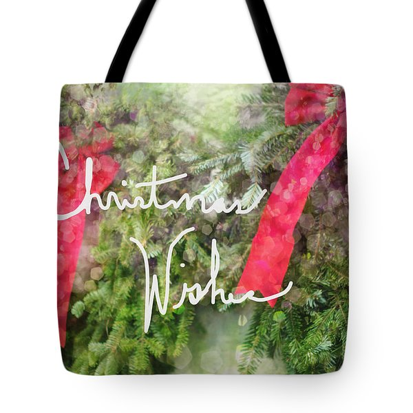 Christmas Wishes Wreaths With Red Bow Tote Bag by Suzanne Powers