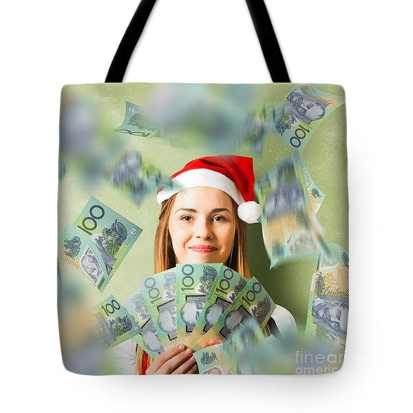 Christmas Woman With Australian Dollar Money Fan Tote Bag