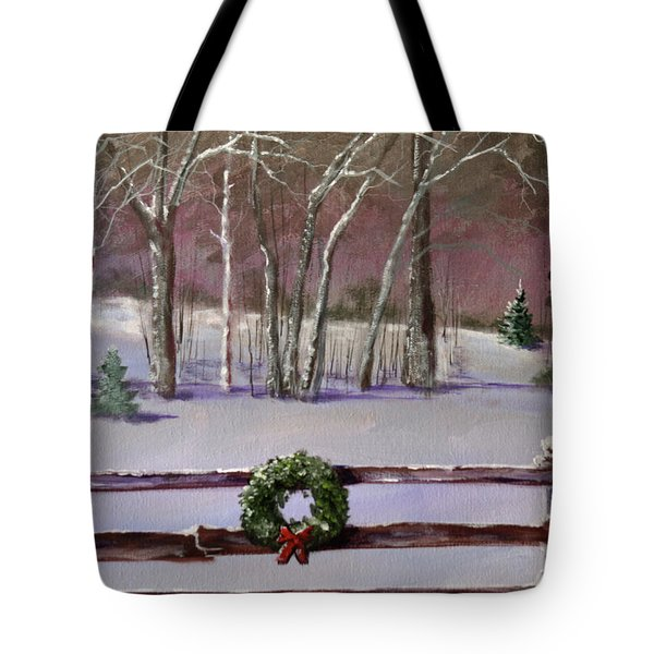 Christmas Wreath On Fence  Tote Bag