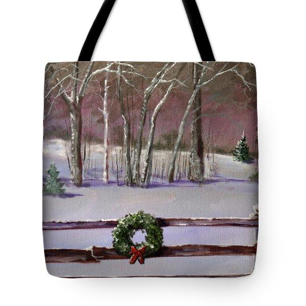 Christmas Wreath On Fence  Tote Bag