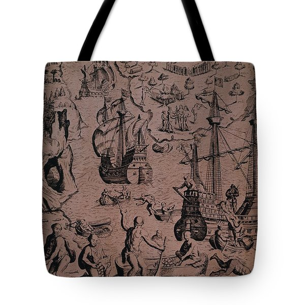 Christopher Colombus Discovering The Islands Of Margarita And Cubagua Where They Found Many Pearls Tote Bag by Spanish School