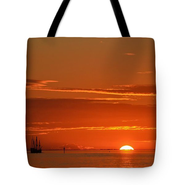Christopher Columbus Replica Wooden Sailing Ship Nina Sails Off Into The Sunset Tote Bag by Jeff at JSJ Photography
