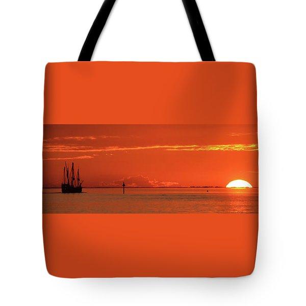 Christopher Columbus Sailing Ship Nina Sails Off Into The Sunset Panoramic Tote Bag