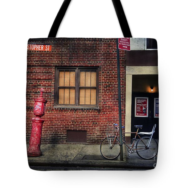 Christopher St. Bicycle Tote Bag by Craig J Satterlee