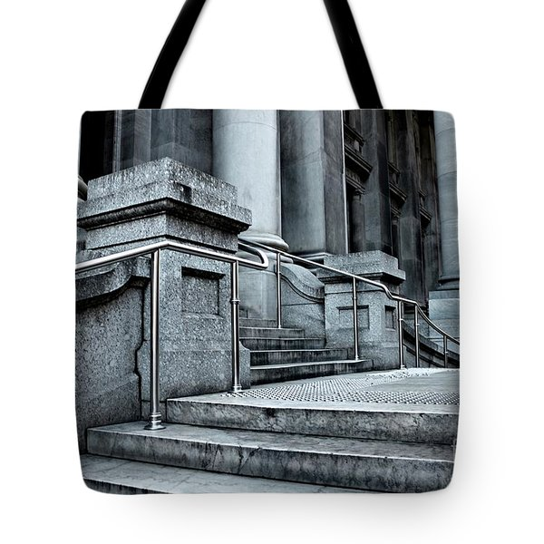 Tote Bag featuring the photograph Chrome Balustrade by Stephen Mitchell