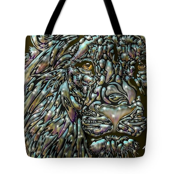 Tote Bag featuring the digital art Chrome Lion by Darren Cannell