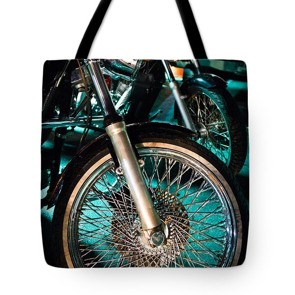 Chrome Rim And Front Fork Of Vintage Style Motorcycle Tote Bag by Jason Rosette