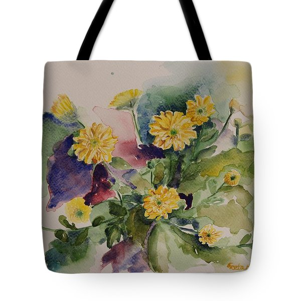 Chrysanthemum Flowers Still Life In Watercolor Tote Bag