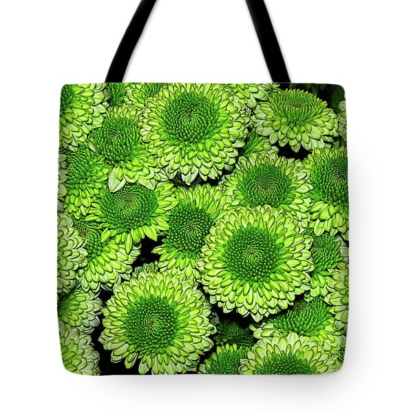 Chrysanthemum Green Button Pompon Kermit Tote Bag by Kaye Menner