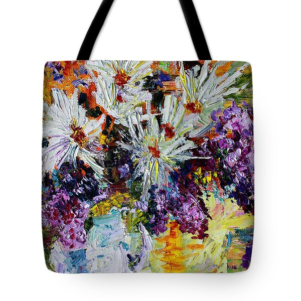 Chrysanthemums And Lilacs Still Life Tote Bag