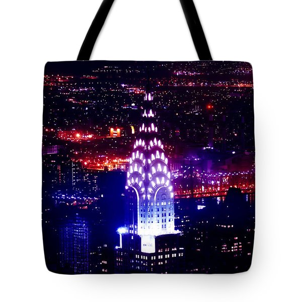 Chrysler Building At Night Tote Bag by Az Jackson